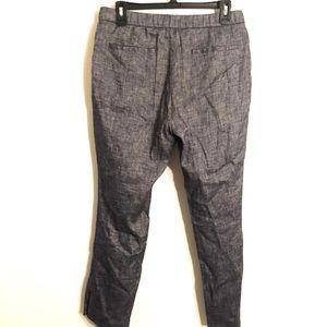 Theory Pants - [Theory] Blue/White Linen Cropped Pants - Size 6